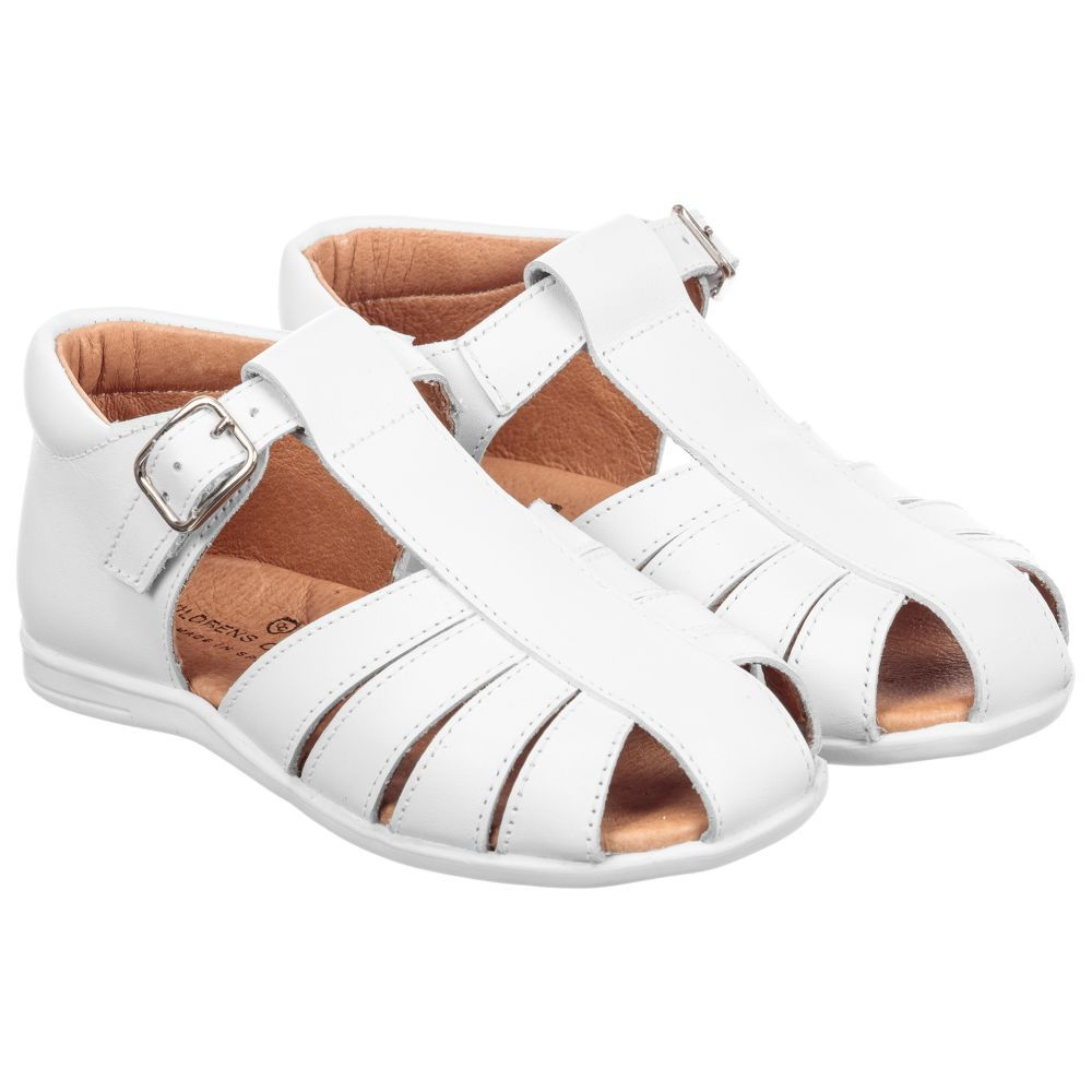 ad8f35ba23e Children s Classics Unisex White Leather Sandals. Shop from an exclusive  selection of designer Shoes