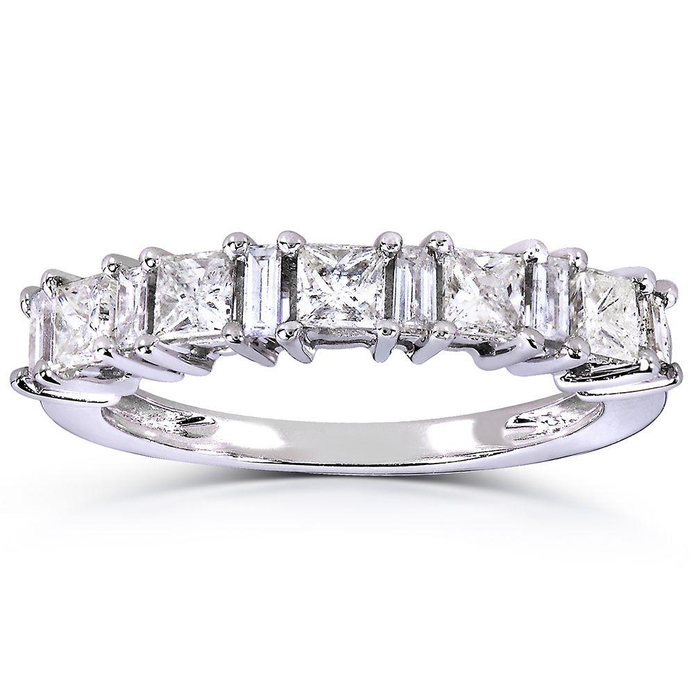 Annello by Kobelli 14k White Gold 3/4ct TDW Princess and Baguette Diamond Ring (H-I, I1-I) (Size 11)