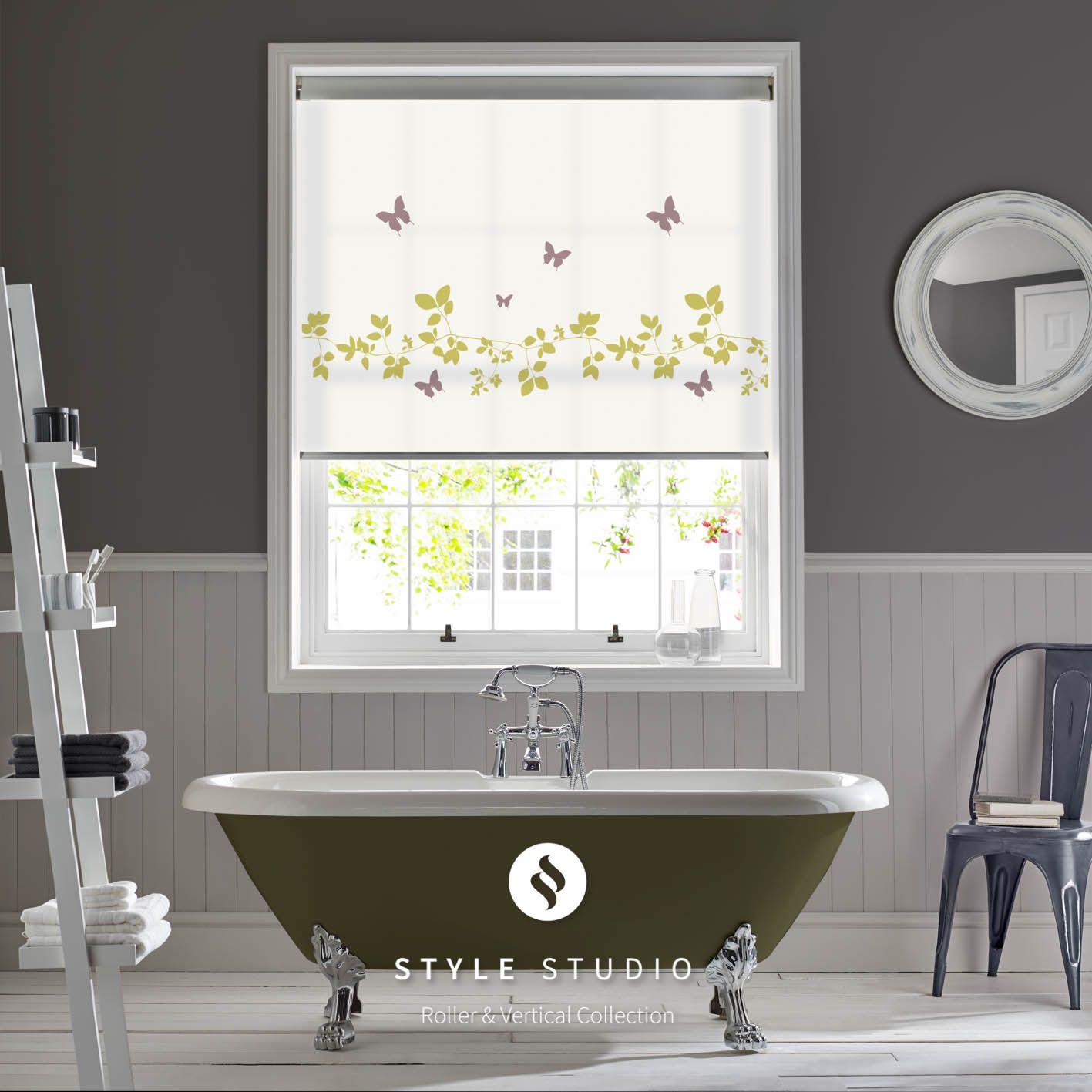 Roller Blind By Eclipse  Vine And Butterfly Spring Fabric