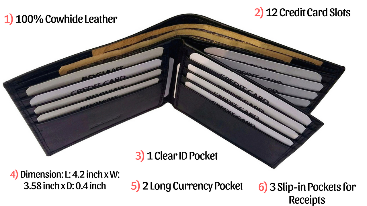 100 Cowhide Leather With Trifold Bifold Mens Wallet Men S Genuine Leather Extra Capacity Center Flip Id Window Bifold W Bi Fold Wallet Wallet Genuine Leather