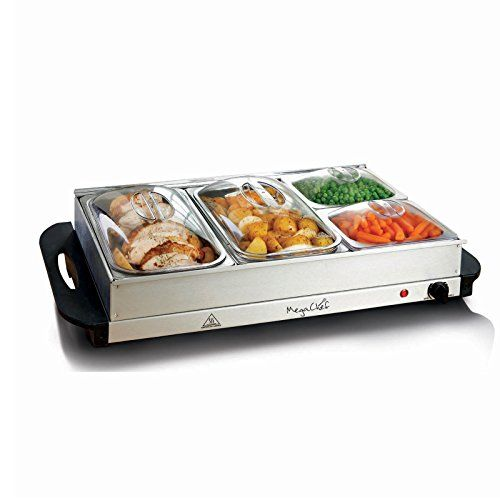 megachef buffet server food warmer with 4 removable sectional trays heated warming tray and