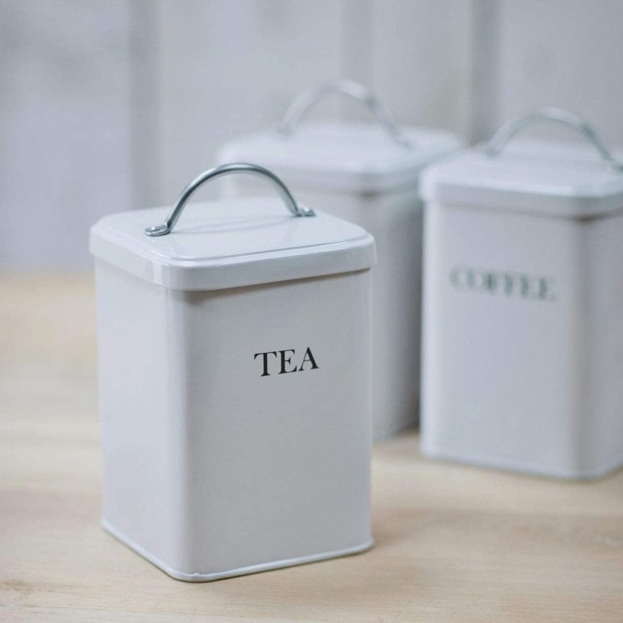 Garden Trading Tea Coffee and Sugar Canisters in Chalk from
