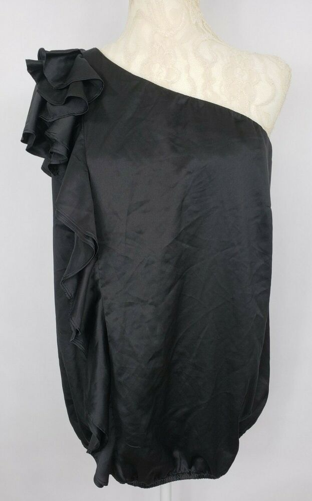 09af41f211c Lane Bryant Womens Size 14 Black Dressy One Shoulder Blouse Ruffle Top NWT   LaneBryant  Blouse  Dressy
