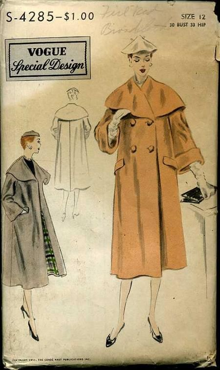 I like this vintage '50s coat - Vogue S-4285