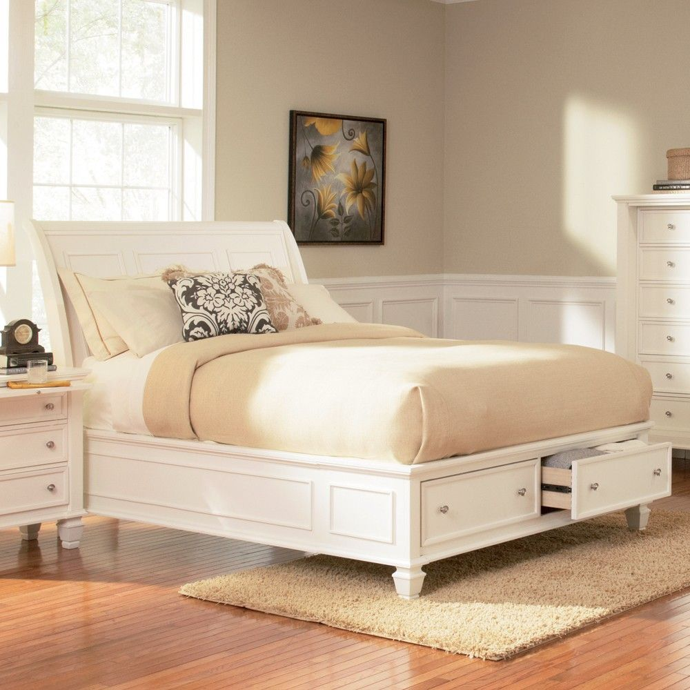 sandy beach wood storage bed in white by coaster bedroom