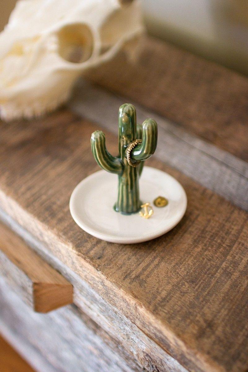 Ceramic cactus ring holder