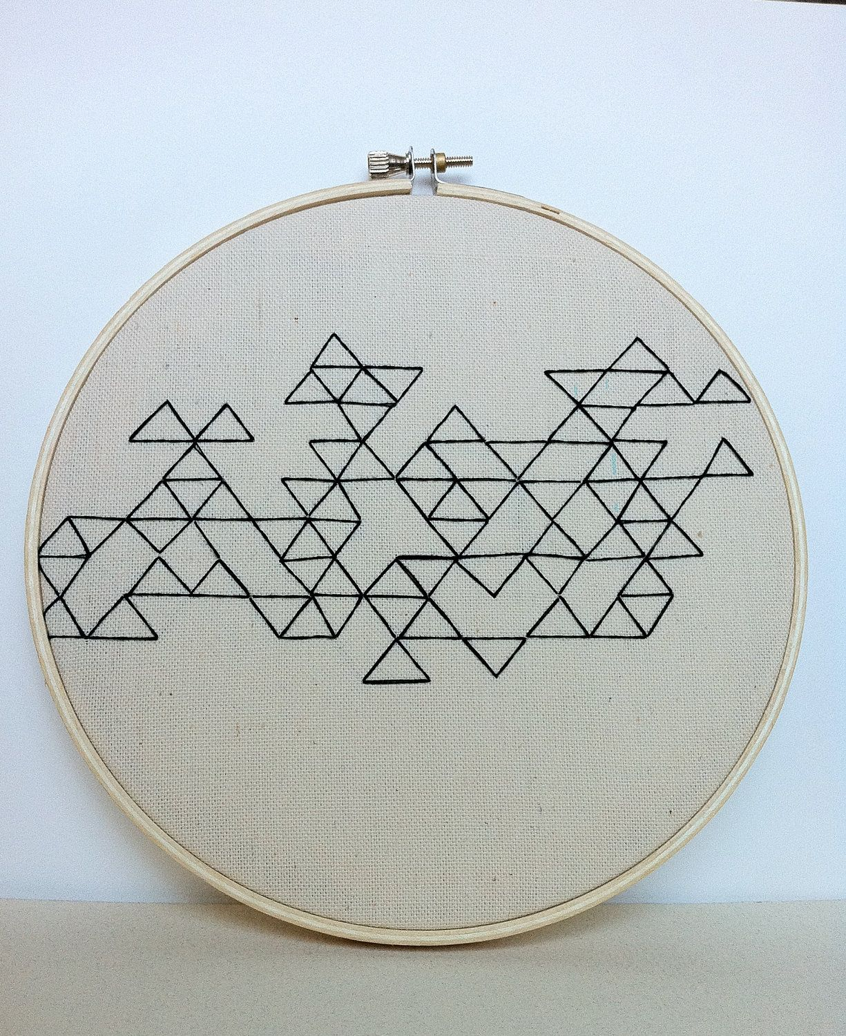 Geometric Triangle Embroidery Art, Black On Natural Linen. $30.00 ...