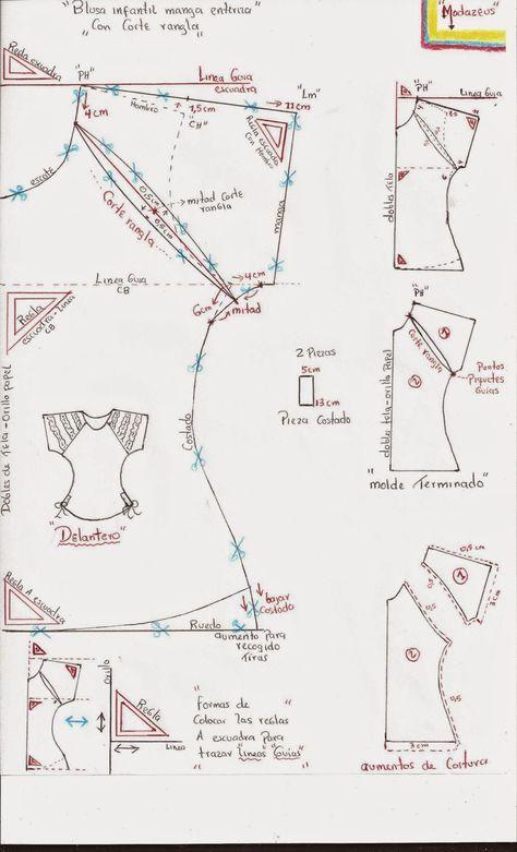 patron de blusa manga ranglan para niñas   vestidos   Costura, Blusa ...