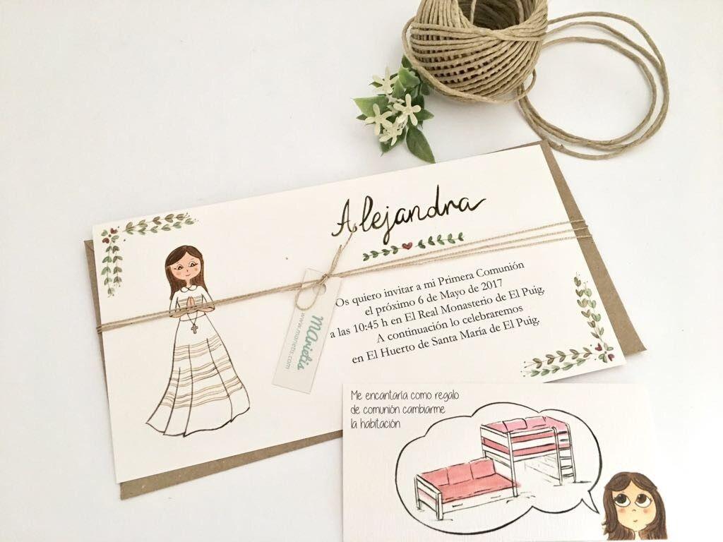Invitaciones de para la Comunión de Alejandra con la tarjeta de su regalo para este día tan especial