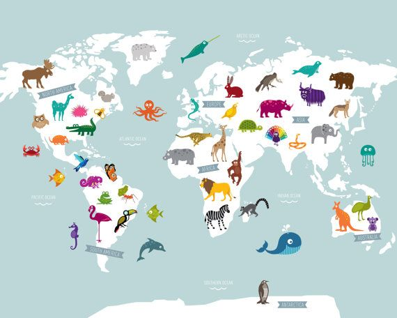 Animal world map poster print pinterest greyish blue blue these 49 colorful and playful animals illustrate the some of the worlds animals they are gumiabroncs Image collections