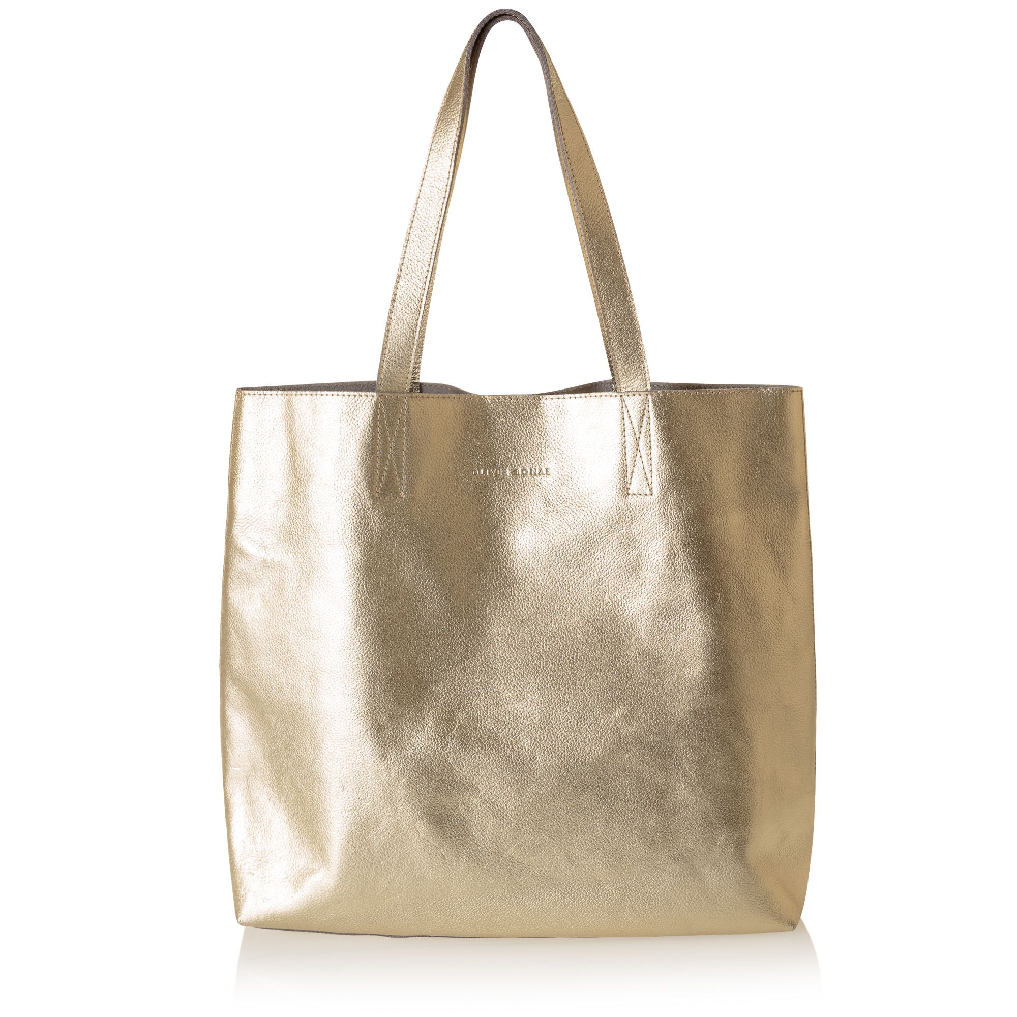 Gold Metallic Leather Handbag From Oliver Bonas