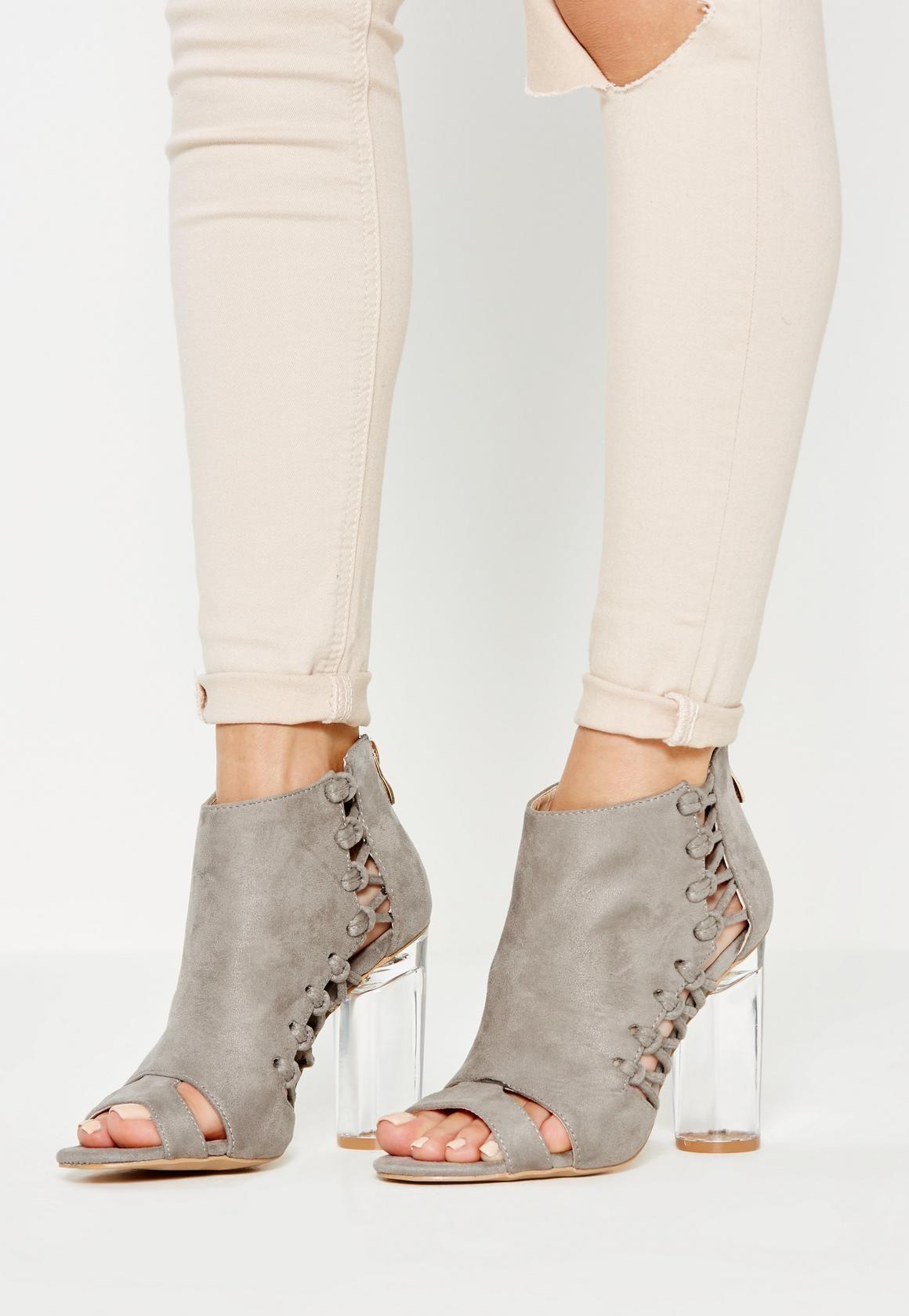 missguided - bottines grises avec découpes et talon transparent