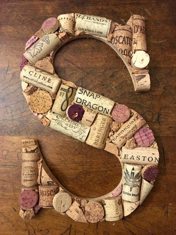 Wine Cork Letter Decoration - #Cork #Decoration #letter #Wine -  Wine Cork Letter Decoration | Etsy