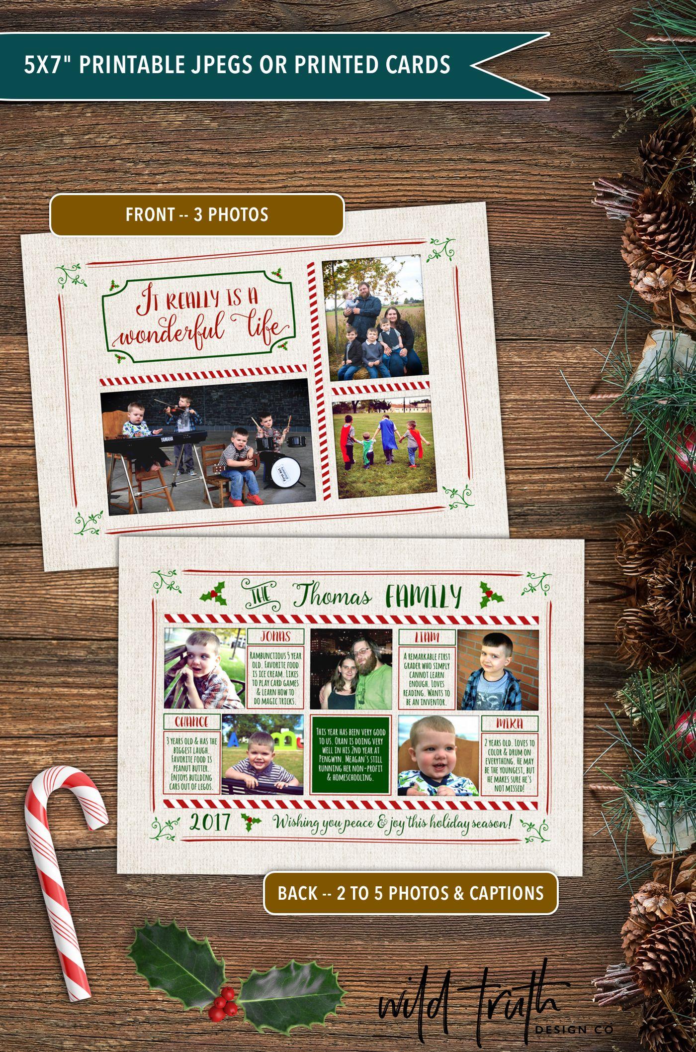 Double Sided Christmas Card Wonderful Life Printable