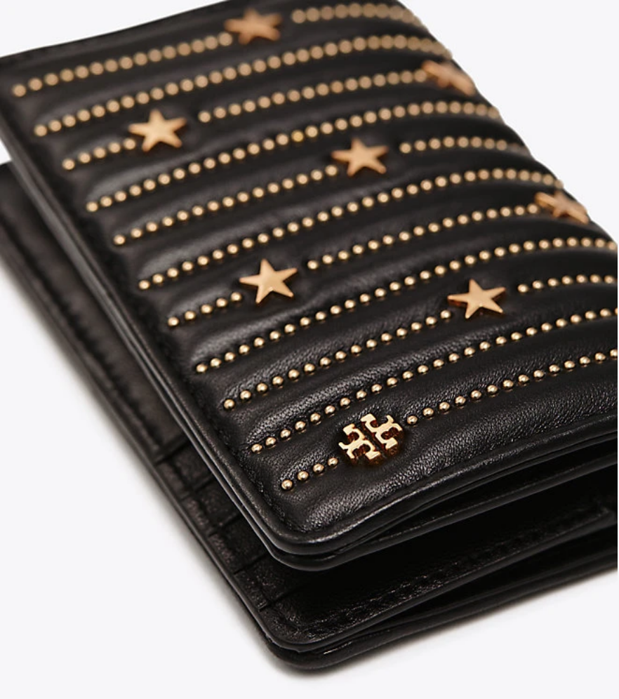 757dc356be2 Tory Burch Fleming Star-Stud Slim Medium Wallet
