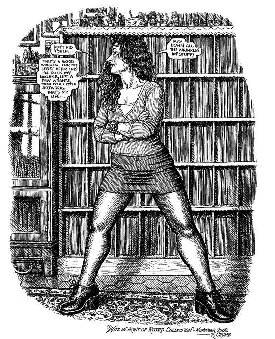 robert crumb s illustration of aline crumb while using his very own record collection as a background