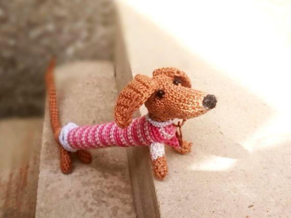 Crochet Dog Dachshund Small Amigurumi Toy Crochet Bracelet Dog Make ...