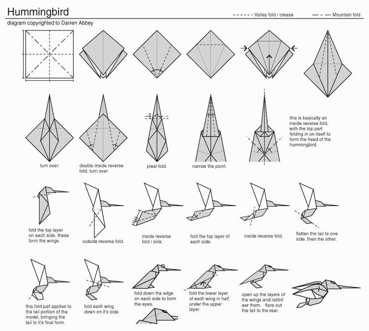 Origami Hummingbird Diagram Instructions Wiring For S Plan Heating System Pin By Rebecca Befort On Crafts Photo 3d Paper Art Folding Easy