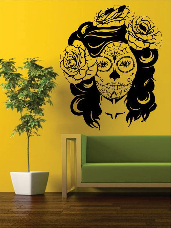 Day of the Dead Girl EXTRA LARGE Skull Art Decal Sticker Wall Vinyl ...