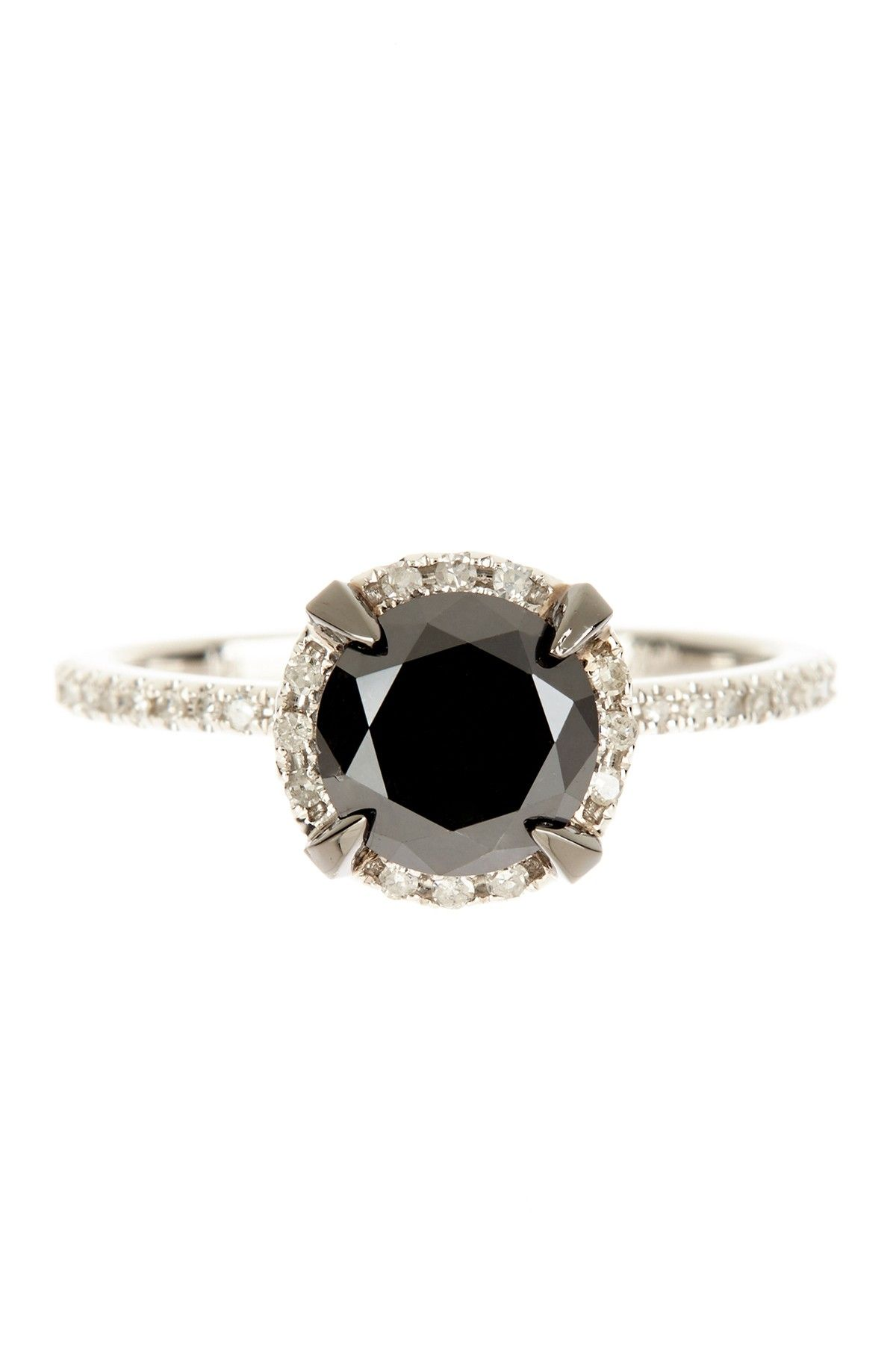 Halo Black Diamond Ring Wishful wedding attire