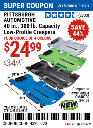 Pittsburgh Automotive 40 In 300 Lb Capacity Low Profile Creeper Green For 24 99 In 2021 Harbor Freight Tools Low Profile Harbor Freight Coupon