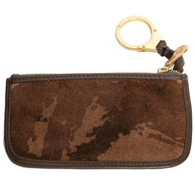 Bottega camouflage suede key ring credit card