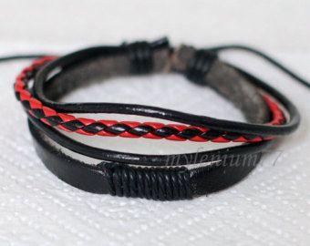 Leather cords bracelet Black leather bracelet Leather by Keybijou