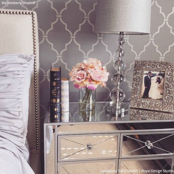 Bedroom Bench Use Bedroom Design Images Bedroom Furniture Sets Most Romantic Bedroom Paint Colors: Casablanca Trellis Moroccan Stencil In 2019