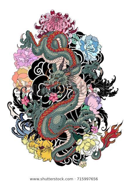 Vetor stock de Japonês velho dragão tatuagem para braço.Dragão (livre de direitos) 715997656