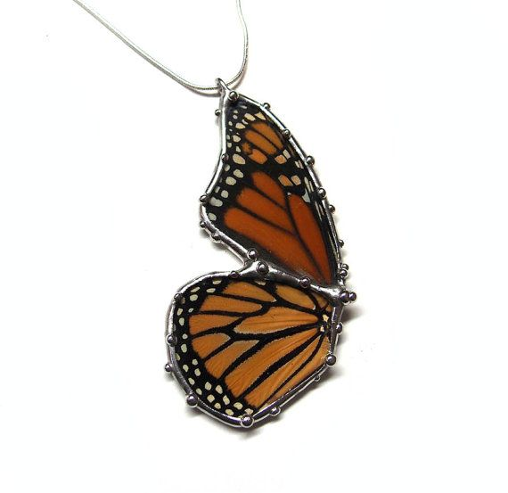 monarch butterfly glass necklace real butterfly jewelry by neile