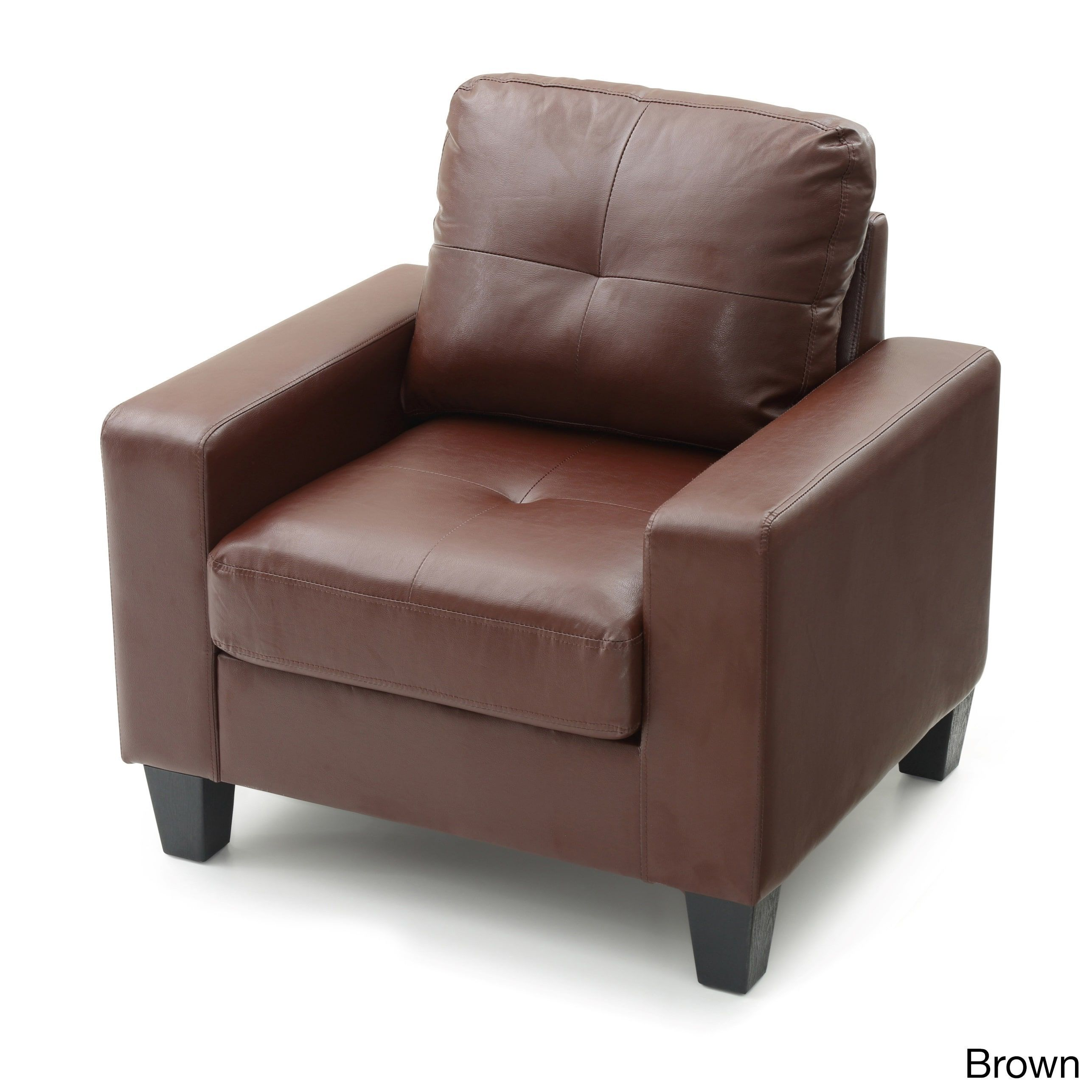 Lyke Home Newman Faux Leather Club Chair (Brown)
