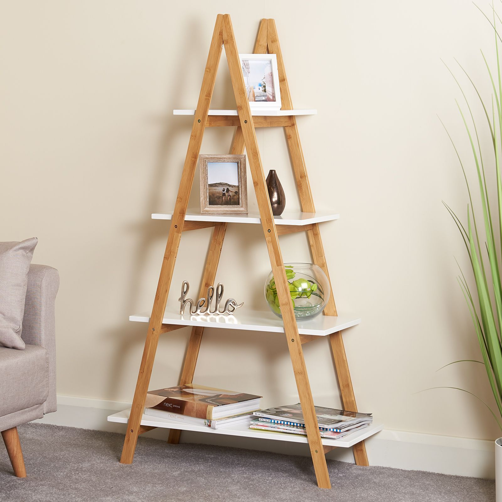 Details About Hartleys 4 Tier White Wooden Ladder Shelf Bookcase