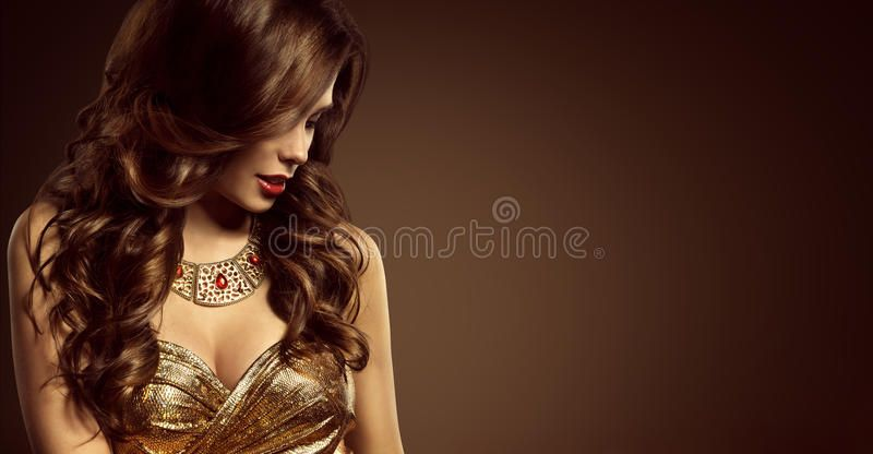 Woman Hairstyle, Beautiful Fashion Model Long Brown Hair Style. Girl in Elegant ,
