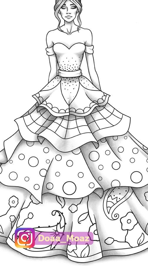 Fashion coloring page in 2020 | Girl drawing sketches ...