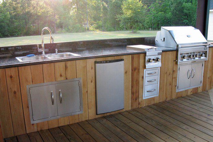 Wood Veneer Luxury Grill Outdoor Outdoor Retreat Wood Veneer Kitchen