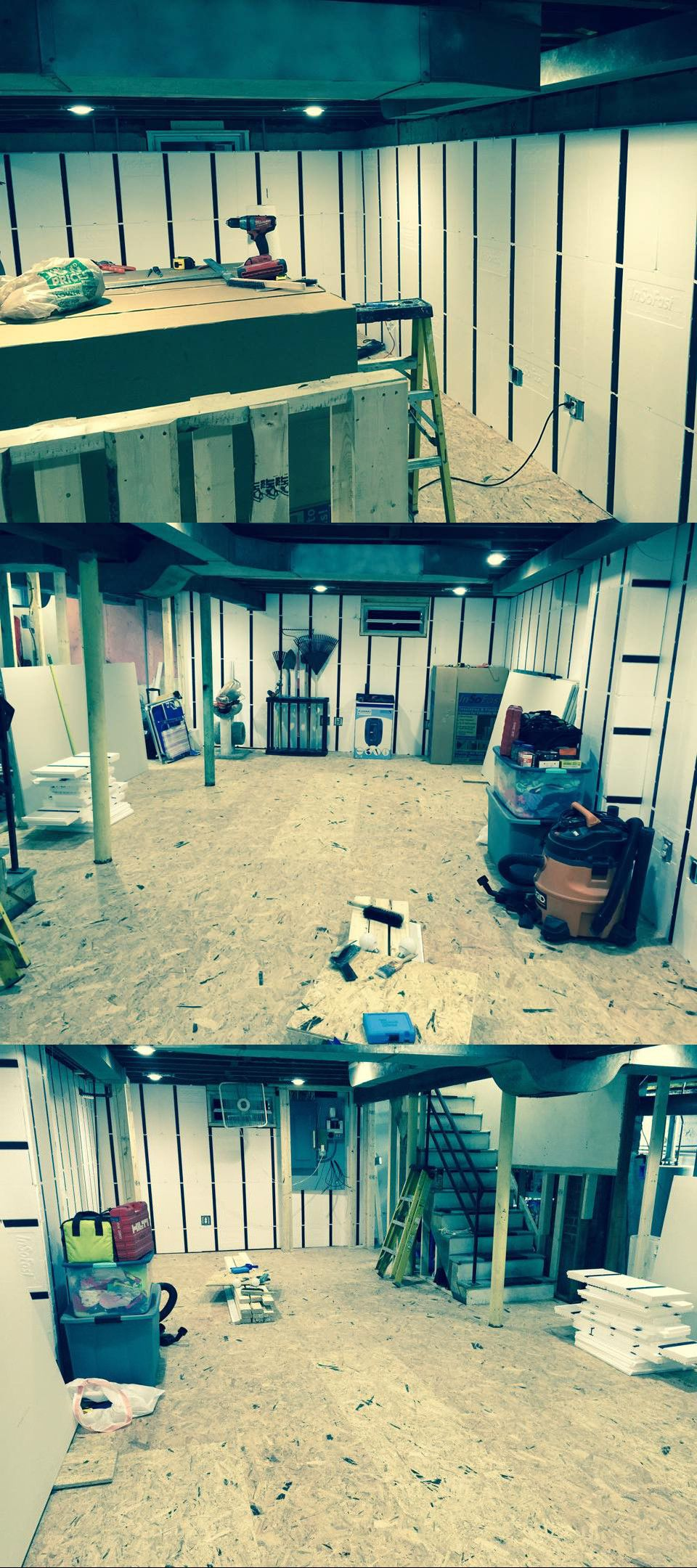 Three views of a DIY basement renovation in progress with ...