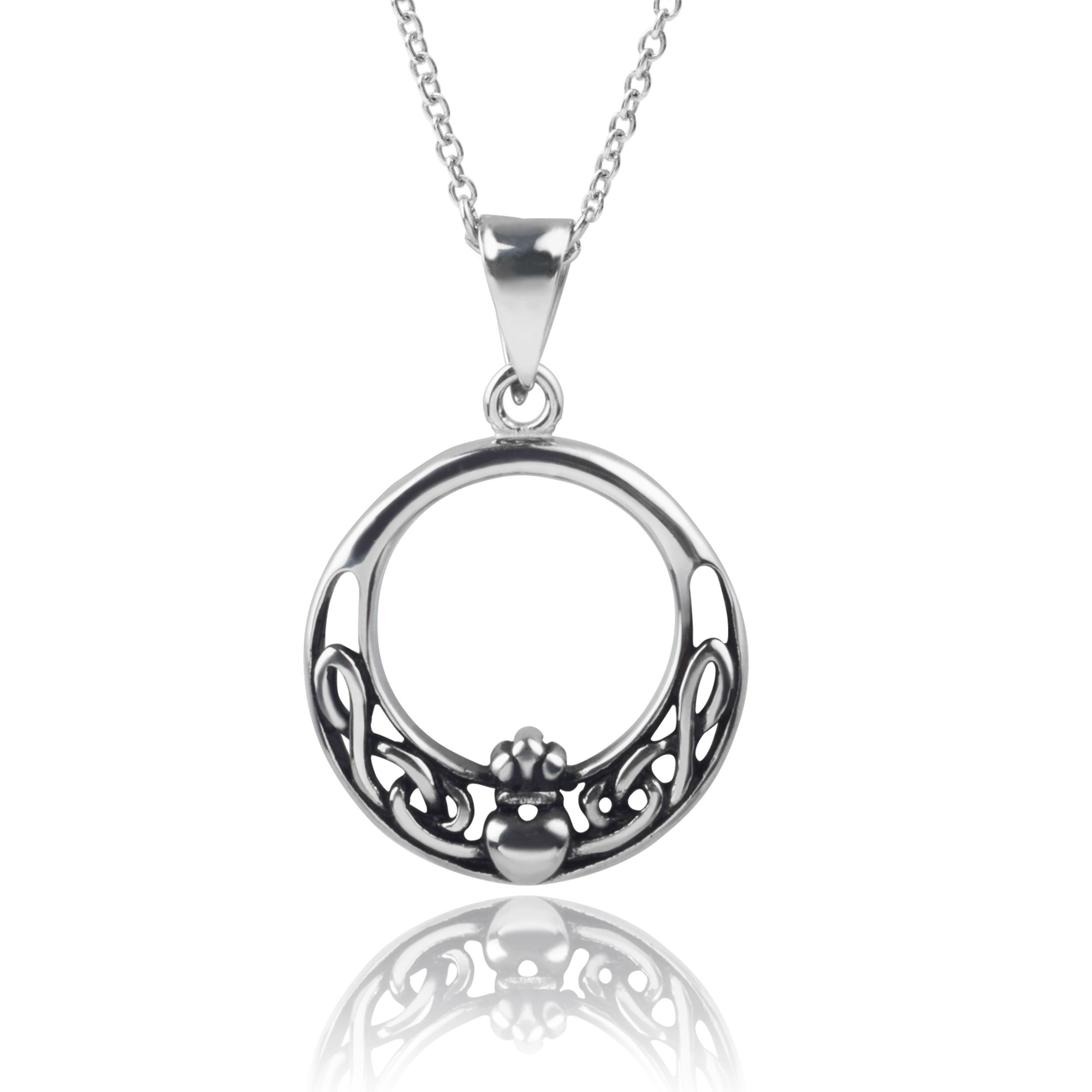 sterling necklace vjnb ebay silver moon pendant brass itm handmade jewelry celtic