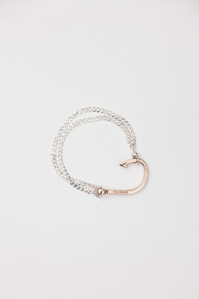 Miansai Rose Gold Fish Hook Silver Chain Bracelet