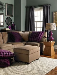 Purple and tan living room …
