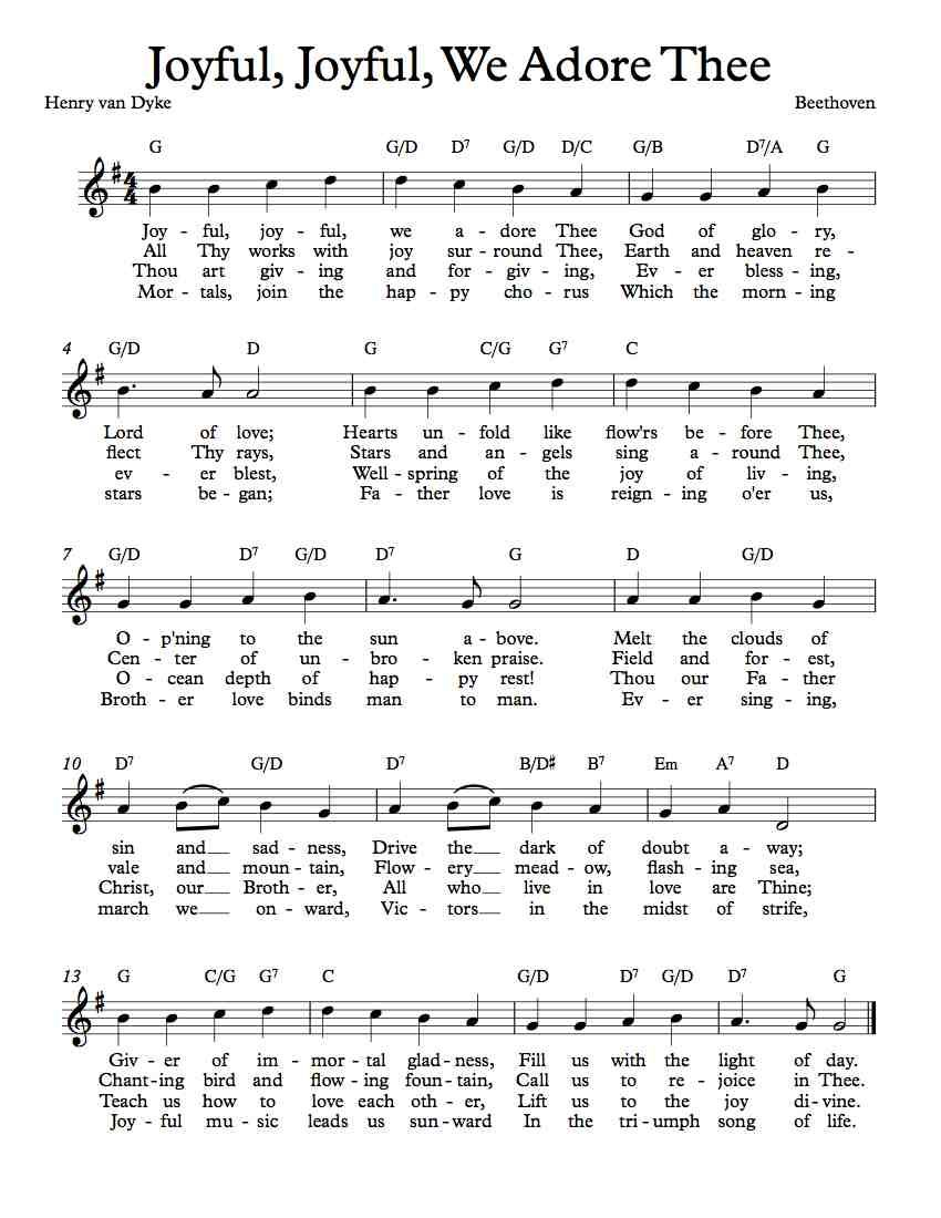 Free sheet music free lead sheet joyful joyful we adore thee free sheet music free lead sheet joyful joyful we adore thee hexwebz Image collections