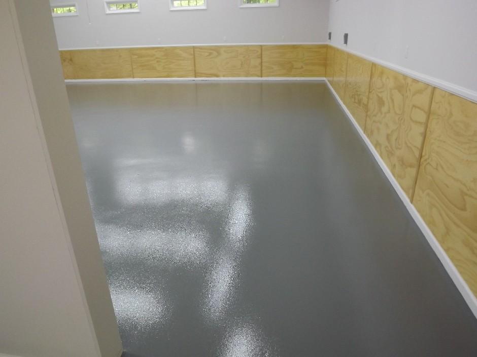 Garage Epoxy Floor Grey Floors Grey Wall Black Wainscot And White Trim Wainscoting Styles Diy Wainscoting Wainscoting Height