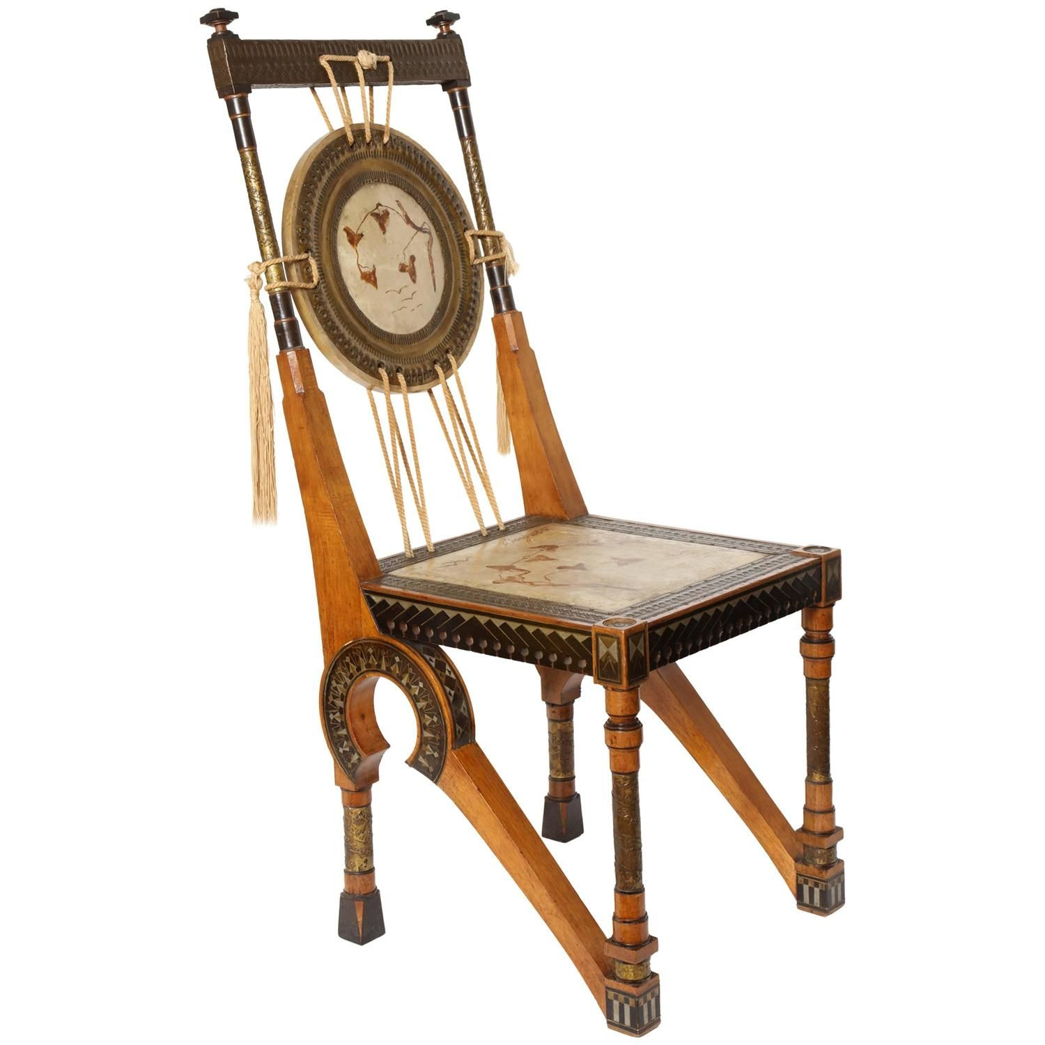 Carlo Bugatti Painted Parchment Inlaid and Hammered Metal Chair circa 1898