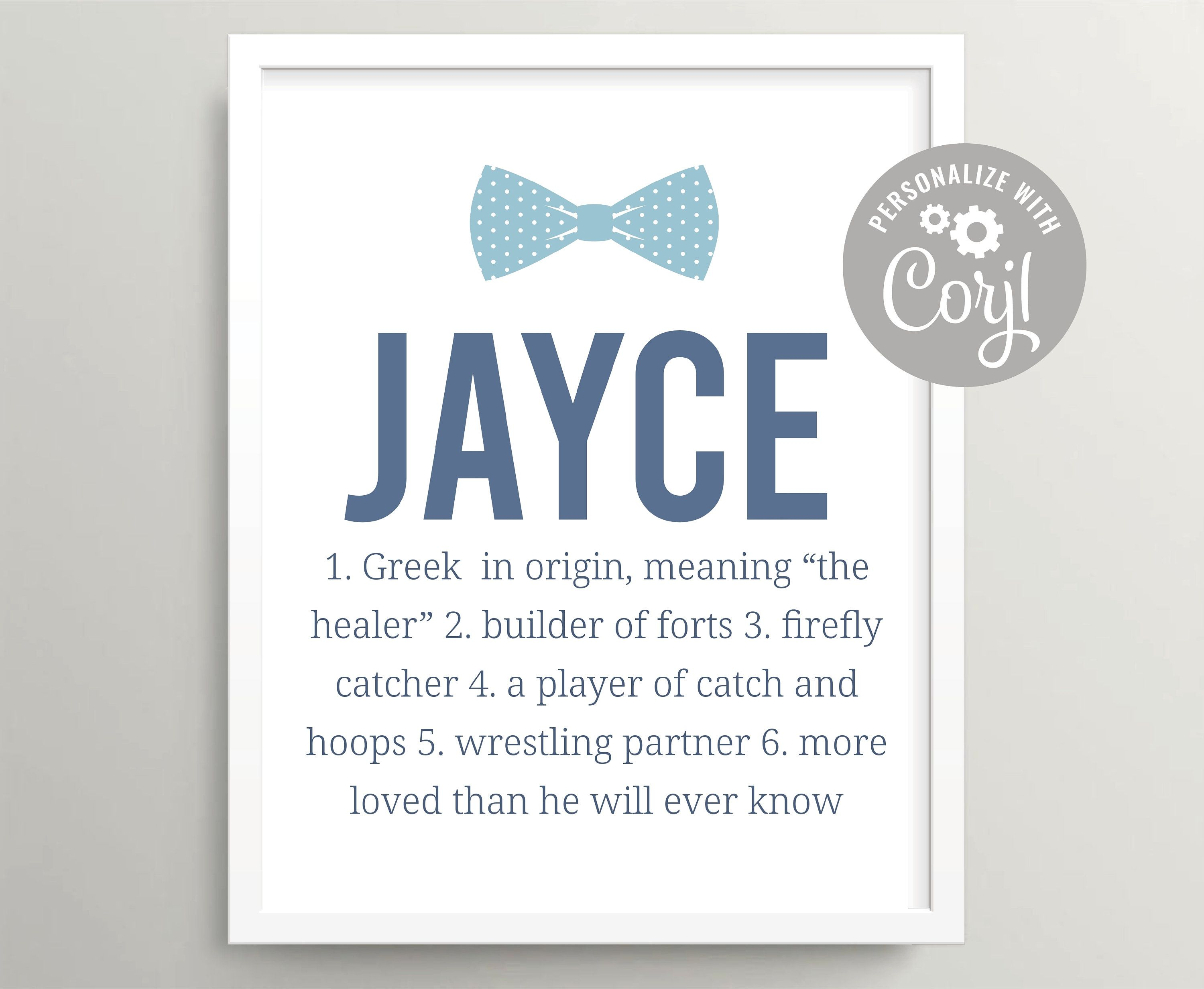 Personalized First Name Meanings for Boy or Girl Twins Gift for Shower Nursery