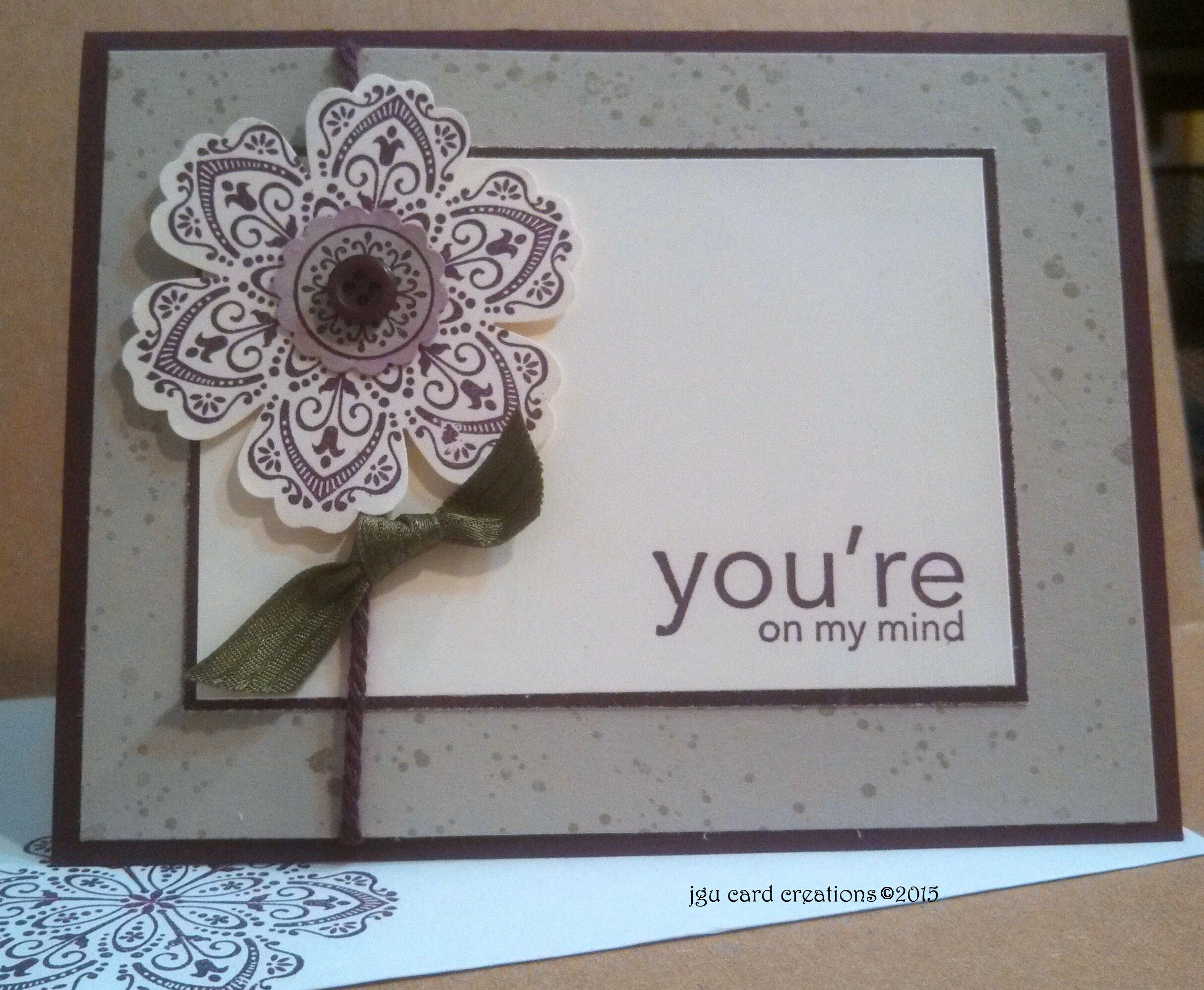 Thinking of you card made during Stampin Up Class at PJ Stamps