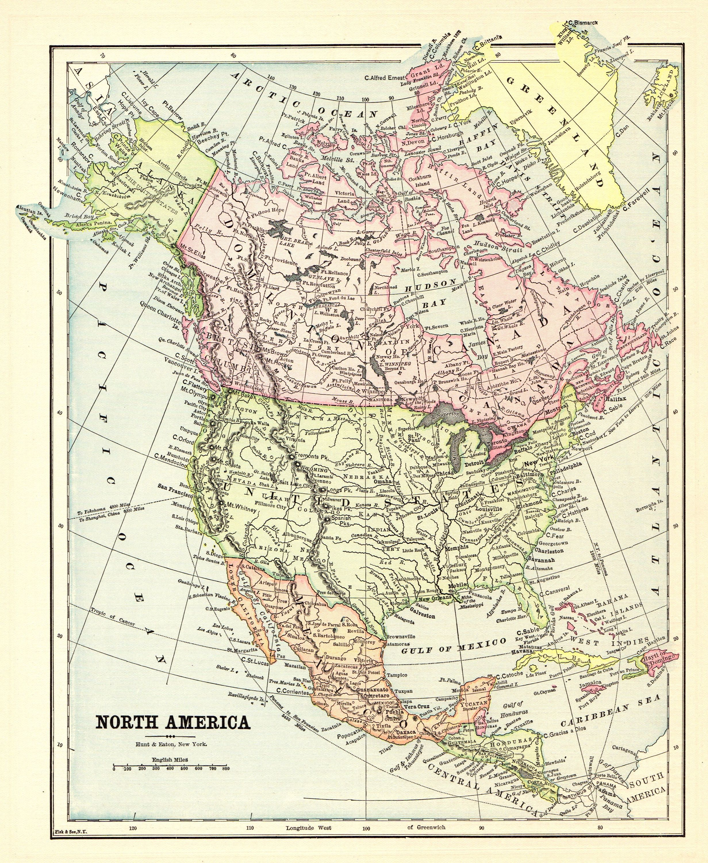 North America Map of North America Wall Art Decor LARGE Antique Wedding Gift Idea For Him Print Old