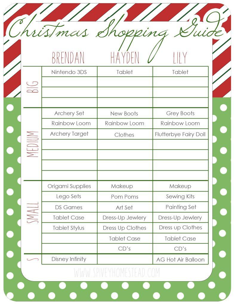 Printable Christmas Shopping List free DIY printable