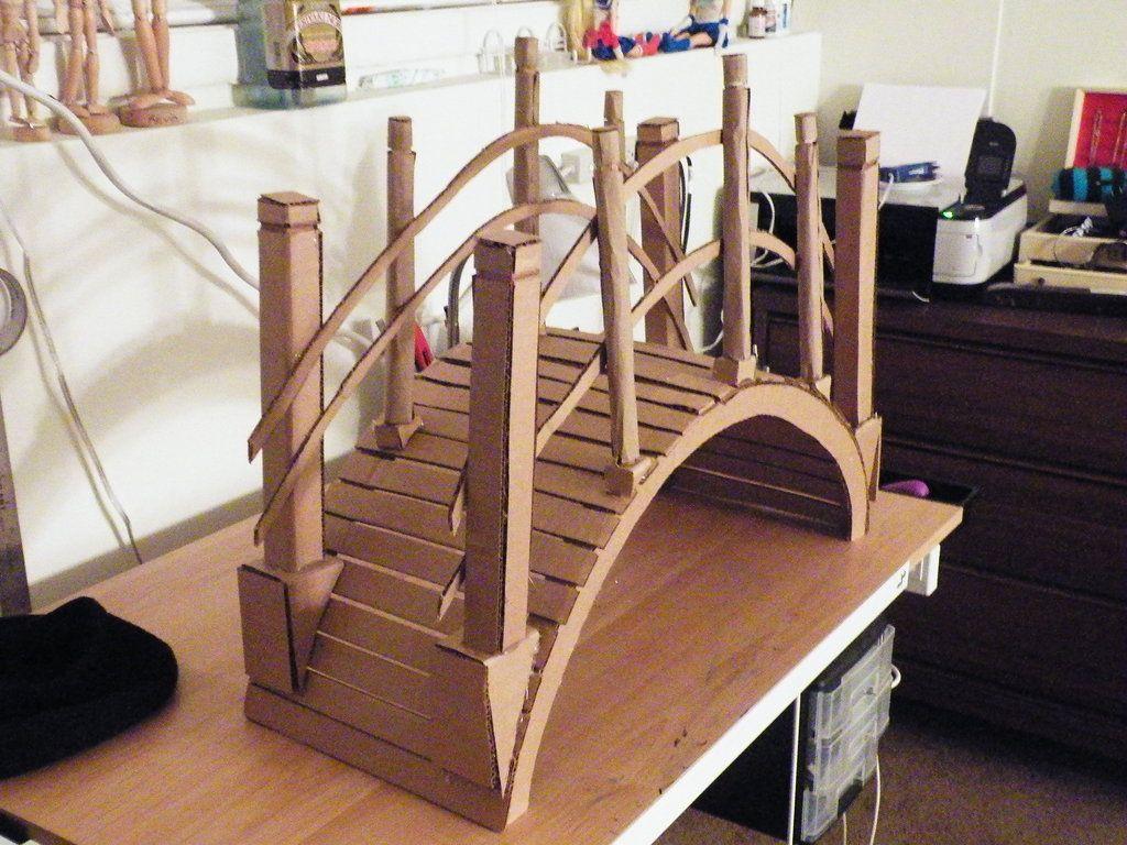 Cardboard Bridge By Hanyouinny On Deviantart Cardboard Crafts Cardboard Kitchen Backyard Bridges