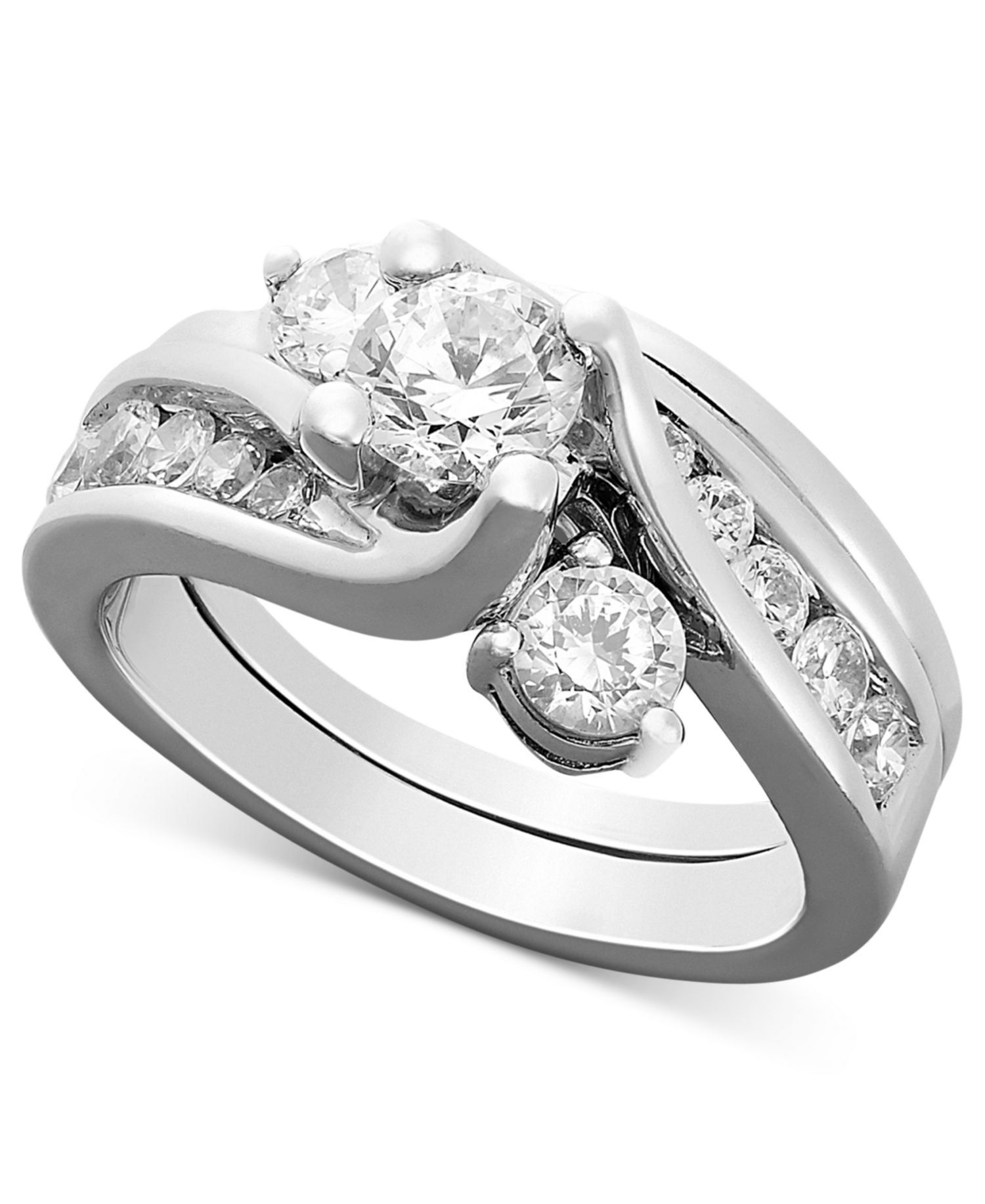 Certified Diamond Bridal Set Ring in 14k White Gold (1-1/2 ct. t.w.) by Macy's on HeartThis
