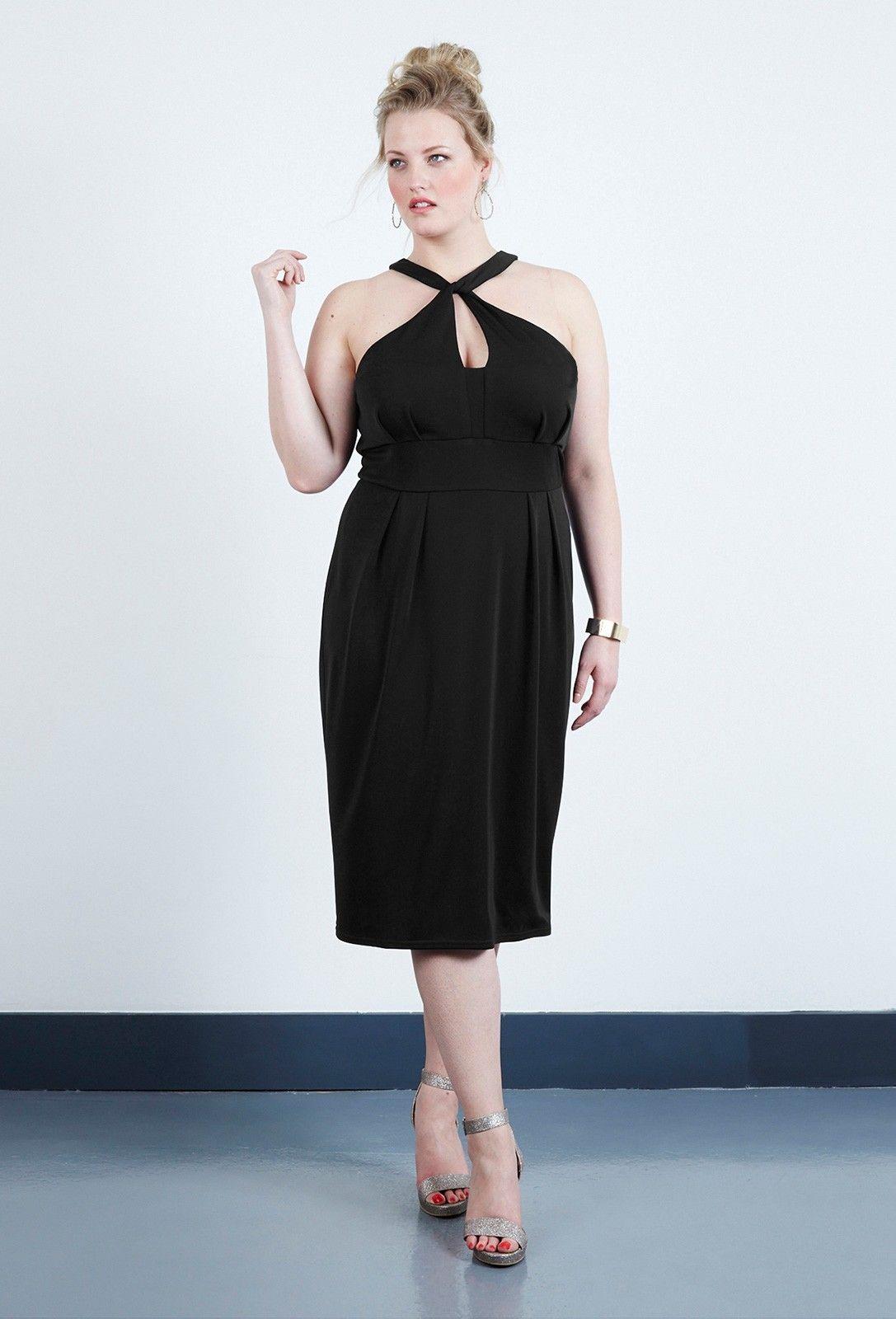 Black Crepe Jersey Halter Plus Size Dress