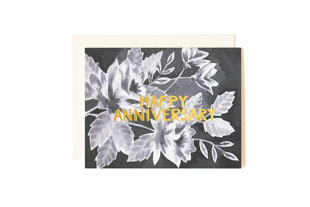 Black floral anniversary greeting card anniversary greeting cards